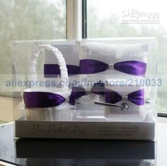 DHgate item # 159514570. Purple Wedding Personalized Stuff Sash Guestbook Pen Set Ring Pillow Flower Basket Garter