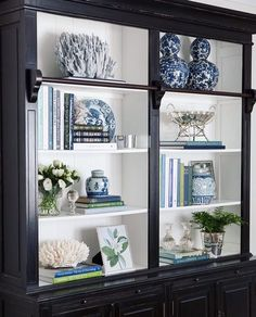 Library Bookcase Styling Shelfie Styling Blue and White Blue White and Green Interior Decorating Interior Styling Interior Design Hamptons Hamptons Style Home Living Room, Living Room Decor, Coastal Living Rooms, Bookcase Styling, Decorating Bookshelves, Decoration Bedroom, Interior Decorating, Interior Design, Interior Styling