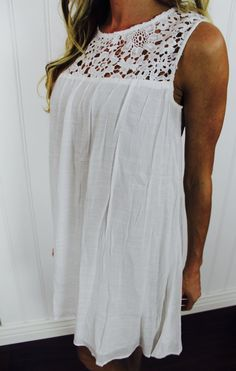 Crochet Floral Lace Shift Dress