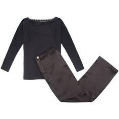 Law of Sleep - Abani Loungewear Pyjamas (£115) ❤ liked on Polyvore featuring intimates, sleepwear, pajamas, lace sleepwear, loungewear sleepwear and lace pajamas