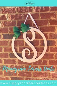 Monograms are classic and perfect for any season. Our Monogram Door Hangers are the perfect addition to your front door decor. Monogram Door Decor, Front Door Decor, Monogram Initials, Circle Monogram, Letter Door Hangers, Bride And Groom Gifts, Diy Presents, Diy Door, Decor Crafts