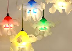 Lightobjects made from used milkcontainers and other colored bottles which are reformed and connect Reuse, Upcycle, Lighting Design, Repurposed, Lamps, Objects, Table Lamp, Cool Stuff, Connect