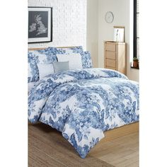 Kensie Aria Queen 6-Piece Comforter Set (87 AUD) ❤ liked on Polyvore featuring home, bed & bath, bedding, comforters, blue, queen bedding ensembles, queen bedding sets, queen bed sets, queen bedding and queen comforter