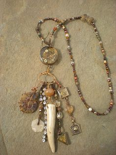 Resin rhinestone capped antler pendant on bronze or rose gold chain