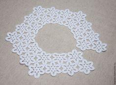 Купить Воротничок №1 - белый, Вязание крючком, ажурное вязание, воротничок, воротник крючком