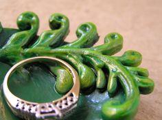 Fern ring bowl in shades of green by TheAmethystDragonfly, $30.00 USD