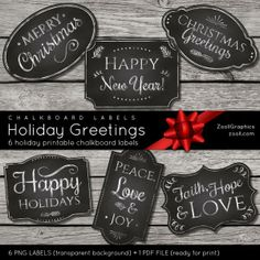 Chalkboard Labels Holiday Greetings Preview