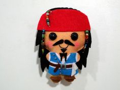 Jack Sparrow felt plush doll in a kawaii style - use as pin, necklace, keychain, magnet or Christmas ornament ( your choice )