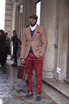 seems red pants are a hit in men's fashion. I own the shoes,pants and jacket. I'm excited to mimic this look . Put some red in your life when you want: increased enthusiasm and interest , more energy , action and confidence to go after your dreams , protection from fears and anxieties