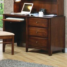 Hillary and Scottsdale Single Pedestal Youth Computer Desk C/T400287 | Contemporary Furniture Style