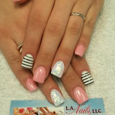 Stripes and glitter nails