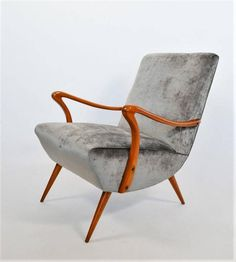 Italian 1950s, Beech and Dark Silver-Grey Velvet Armchair Numbered Reupholstered 4