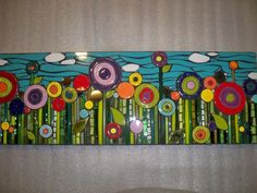 Could those be fused glass circles? Trees-and-Nature, looks like one of those Hundertwasser paintings!Colorful mosaic by Jill KernodleThe flower heads alone might be good for a tabletop.House mosaics on stairs create streets! Mosaic Diy, Mosaic Garden, Mosaic Crafts, Mosaic Projects, Mosaic Tiles, Art Projects, Mosaics, Fused Glass Art, Mosaic Glass