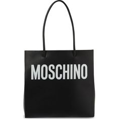 MOSCHINO Leather shopping bag ($815) ❤ liked on Polyvore featuring bags, handbags, black, black leather purse, leather bags, leather tote shopper, leather shopper and genuine leather handbags