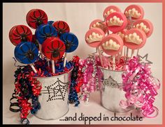 Chocolate covered oreo cookie pops ~ A client's daughter was turning 6 and having a birthday party. She wanted princess theme for the girls and Spider-Man for the boys. How thoughtful of her! She's only 6! What a sweetie!