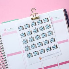 Kawaii TV stickers25 x matte planner stickers life by lepaperhouse