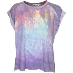 WILDFOX Dream On Multi Oversize T-shirt with print (120 AUD) ❤ liked on Polyvore featuring tops, t-shirts, shirts, blusas, oversized shirt, purple shirt, print t shirts, round neck t shirt and oversized t shirt