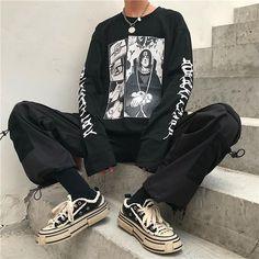 Naruto anime t-shirt Edgy Outfits, Anime Outfits, Grunge Outfits, Cool Outfits, Fashion Outfits, Aesthetic Grunge Outfit, Aesthetic Clothes, Tomboy Fashion, Streetwear Fashion