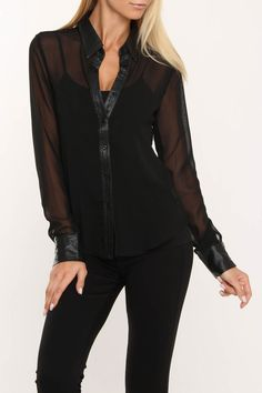 Black Chiffon Blouse trimmed in leather.    Softness with a touch of tough...yes.