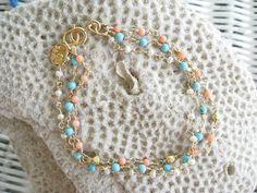 Turquoise Pearls Coral Bracelet Gemstone by NuryMenesesJewelry, $38.00