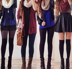 Prefect outfits ootd clothes fall winter cold spring night out school black skirt dark blue flowy short black leather jacket white feather necklace white infinity scar  black tights knee high socks over the knee heel boots leggings brown red cardigan bag beige grey crop shirt skirt maroon