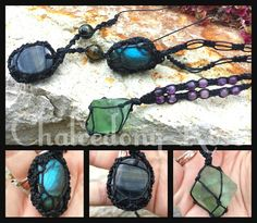 Gemstone wrapped necklaces. Fluorite Octohedron,  Labradorite tumble and Blue tigers Eye flat stone :)  check out www.facebook.com/chalcedonyrose for more!!