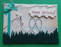 Handmade/Painted Unique Roller Coaster Felt Birthday Card