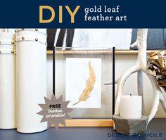 DIY Gold Leaf Feather Art