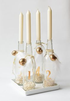 moder unusual bottle advent wreath with snail shell