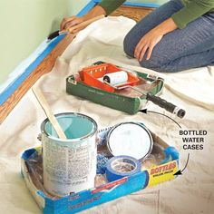 A variety of good ideas for mess free painting. About the wire coat hanger tip, if you don't have a coat hanger, you can use a large rubber band. Mess-Free Painting Tips Posted on The Family Handyman.