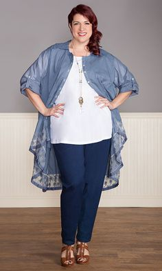 Dove Duster in Country Blue! / MiB Plus Size Fashion for Women / Fall Fashion /  Plus Size Duster / http://www.makingitbig.com/product/dove-duster