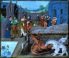 """Ambros Prophesies to King Vortigern,"" 15th century manuscript, Lambeth Palace.    [As a youth, Ambros/Merlin foretells that the red dragon--the British kings    leading up to King Arthur--will defeat  the white dragon--the invading Saxons.]"
