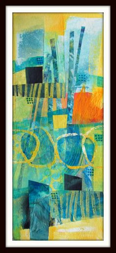 """Fibermania: Easel.  Acrylic, collage, neocolor crayon, ink, stamping. 4x10"""""""