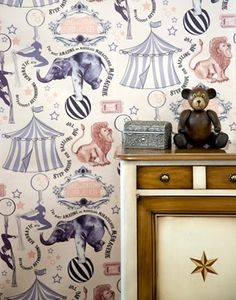From Sweet Paul Magazine - Winter 2012 - comes these adorable circus items for a child's room (or mine! I've never before seen such wonderful circus wallpaper! Quirky Wallpaper, Kids Wallpaper, Beautiful Wallpaper, Wallpaper Ideas, Circus Vintage, Vintage Circus Nursery, Childrens Bedroom Wallpaper, Circus Room, Circus Baby