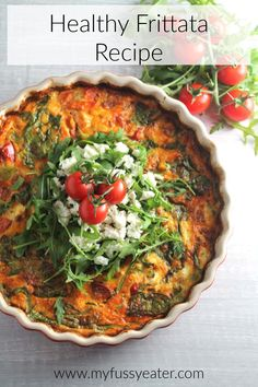 A frittata is a fantastic and versatile dish as it can pretty much be served for breakfast, lunch or dinner. We ate this as a healthy lunch with some extra salad but you could also make a more substantial meal by serving it with crusty bread or potato salad. Yum! #frittatarecipes #breakfastideas #lunchideas #dinnerideas #crustlessquiche Egg Recipes, Brunch Recipes, Breakfast Recipes, Cooking Recipes, Breakfast Ideas, Free Recipes, Healthy Frittata, Frittata Recipes, Spinach Frittata
