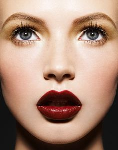 dark red lips and simple eye makeup