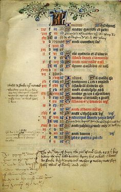 Record of the birth of Prince Henry (later Henry VIII) in Margaret Beaufort's Book of Hours. Margaret was Henry's paternal grandmother. She frequently recorded dates of personal and political interest in her Book of Hours alongside a calendar of Church festivals. This page records dates in June, the month of Henry's birth. However Margaret appears to have made a mistake whilst writing Henry's birth date. She has crossed out the first incorrect date she wrote and above this has stated '1491'…