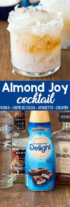 Almond Joy Cocktail an easy cocktail recipe that tastes like an Almond Joy Candy Bar! Vodka amaretto creme de cocoa and Almond Joy Coffee Creamer make one tasty drink! - Coffee Creamer - Ideas of Coffee Creamer Sweet Alcoholic Drinks, Amaretto Drinks, Alcoholic Punch Recipes, Fancy Drinks, Easy Cocktails, Drinks Alcohol Recipes, Yummy Drinks, Cocktail Recipes, Sweet Vodka Drinks