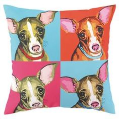 Warhol-inspired pillow with a chihuahua motif.   Product: PillowConstruction Material: 100% Polyester cover and feather down fillColor: MultiFeatures:  Insert includedPrinted Dimensions: 16 x 16Cleaning and Care: Spot clean