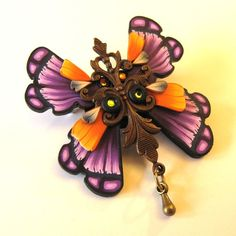 Art Nouveau Butterfly Pin  Brooch by Claybykim on Etsy, $18.00
