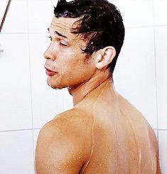 Bob Morley talking in the shower