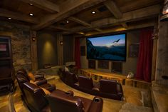 Home theater- hubby's dream basement! 😉 Home theater- hubby's dream basement! Home Theater Lighting, Home Theater Setup, Best Home Theater, At Home Movie Theater, Home Theater Speakers, Home Theater Rooms, Home Theater Design, Home Theater Projectors, Home Theater Seating