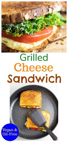 This amazing vegan grilled cheese sandwich is layered with homemade vegan melty cheese, tomato, kale (or spinach), and creamy easy-to-make mayo. Who says grilled cheeses are for kids? This flavorful vegan sandwich is for everyone!  #vegangrilledcheese #vegansandwich #vegsandwich #nooil