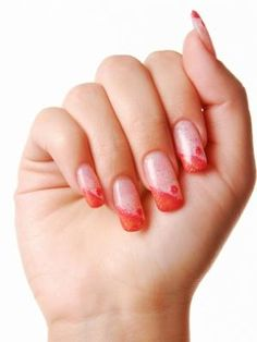 french nail art design-red glitter