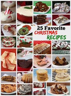 25 Favorite Christmas Recipes - including recipes for christmas cookies, holiday cakes, festive coffee cakes, fudge and more.  These recipes have been family favorites for many years!