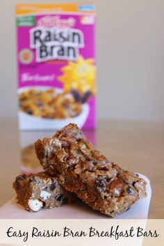 Looking for a quick and easy breakfast! These Raisin Bran Breakfast Bars only require 4 ingredients and are a great way to start your day! Breakfast On The Go, Quick And Easy Breakfast, Breakfast Bars, How To Make Breakfast, Breakfast Recipes, Breakfast Items, Raisin Bran Recipe, Raisin Bran Muffins, Diabetic Snacks
