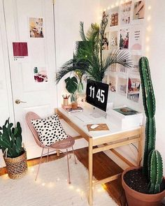Abundant botanicals and twinkling lights make for an equally charming and inviting home office design. Abundant botanicals and twinkling lights make for an equally charming and inviting home office design. Home Office Design, Home Office Decor, House Design, Office Desk, Office Inspo, Office Designs, Office Style, Dorm Desk Decor, Cute Desk Decor