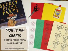 Crafty Kid Crafts - Secret Pizza Party Book Activity - Perks of Being a JAP Crafty Kids, Crafty Craft, Party Activities, Book Activities, Pizza Craft, Dragons Love Tacos, Fun Projects For Kids, Pizza Party, School Parties