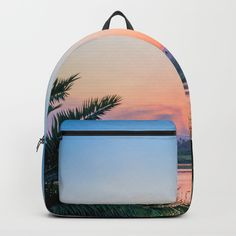 Palm Tree Sunset Print Backpack by newburydesigns Cute Mini Backpacks, Stylish Backpacks, Girl Backpacks, Mini Backpack Purse, Backpack For Teens, Cute Purses, Purses And Bags, Kawaii Bags, Palm Tree Sunset