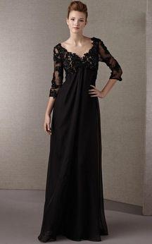 93145783bdc 2014 New Style A-line V-neck Long Sleeve Chiffon Dark Navy Long Prom